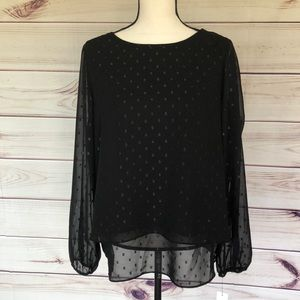 NWT APT 9 sheer overlay with lining black blouse